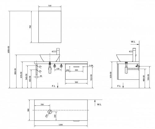 Tủ lavabo INAX CB1206-4IF-B